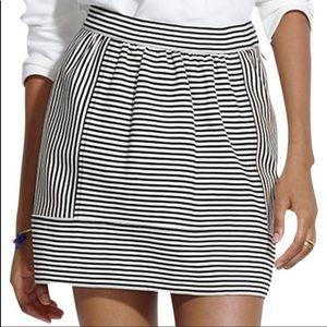Madewell Black & White Striped Mini Skirt. Sz 14